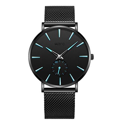 Reloj Impermeable para Hombre de Acero Inoxidable de Color Negro con un diseño Ultra-Delgado y Casual. (Azul)