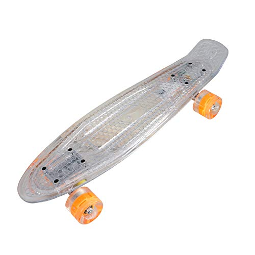 BAFEYU Children Skateboard, 24 inch Cruiser Board with High Rebound PU LED Light up Wheels for Beginners or Professionals Boys Girls