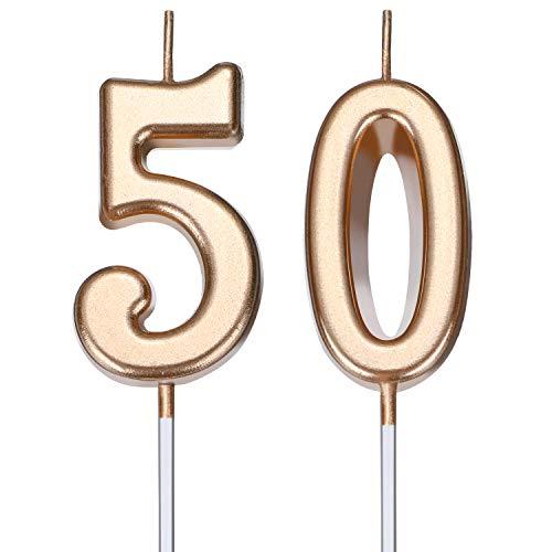 BBTO Candele di Compleanno 50 ° Numero Candele di Torta Numero Candele Decorazione di Felice Compleanno Torta Topper per Compleanno Nozze Anniversario Celebrazione Bomboniera (Champagne Oro)