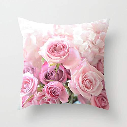 Jiaquhome American Country Retro Floral Pillowcase Rose Farmhouse Cushions Case Sofa Decorative Throw Pillow Cover 2pc