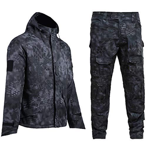LXYFMS Plus Samt Camouflage Anzug Herrenjacke Hose auch im Freien versteckt Angeln Camping Abenteuer Reitanzug Tarnanzug (Size : L)