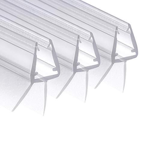 Wellba Junta para puerta de ducha prémium (3 x 70 cm) para puertas de cristal de 6 mm, 7 mm, 8 mm de grosor, junta impermeable para ducha o cabina de ducha con labios de goma perfectamente ordenados