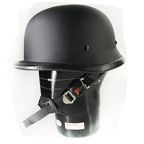 CX ECO Scooter Jet Bobber Helm Wehrmacht HalShell Motorcycle Helm Chopper Motorbike Pilot Cruiser Vintage Moped Chopper Helm,Black,XL