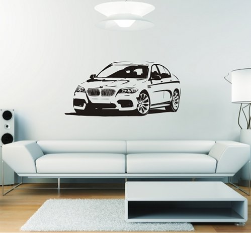 Wandtattoo Auto bayerische Sportlimousine, 119 x 57 + Rakel von mldigitaldesign