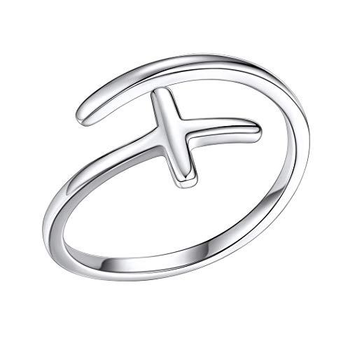 PROSILVER Anillo Cruz Plata Mujer Anillo Delgado Ajustable, Joyeria Amuleto Fe Anillo Crucifijo Plata 925 Cross Ring