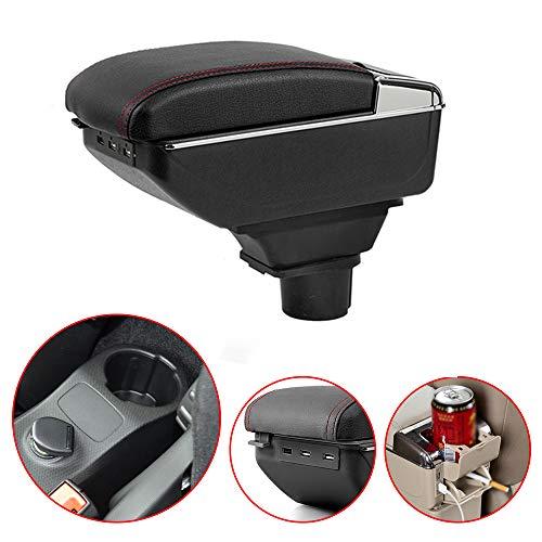 Bracciolo Centrale con Vano Portaoggetti per Smart Fortwo Forfour Console Centrale Auto Supporto in Pelle con Portacenere & Portabicchieri & 7 Porte USB Nero