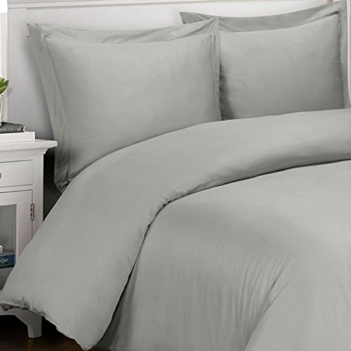 Royal Tradition Silky and Soft Bamboo Duvets, 100% Viscose from Bamboo Duvet Cover Set, Gray, 3 Piece King/California King Size Duvet Cover Set