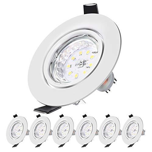 Spot led encastrable Spot encastrable orientable LED spot encastré 230V Blanc Chaud 2700K 500LM,5W Equivalente 50W Incandescence,30° Orientable 120° d'éclairage,6x GU10 Lampe de Plafond Non Dimmable