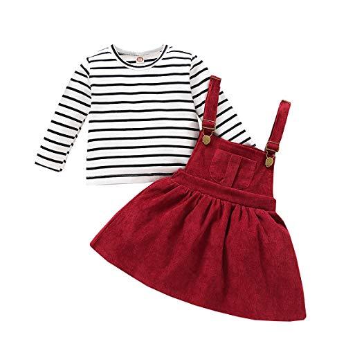 Verve Jelly Neugeborenes Baby Mädchen Langarm Gestreifte Bluse Top + Strapsrock Kleidung Outfits Set Partykleid Mädchen
