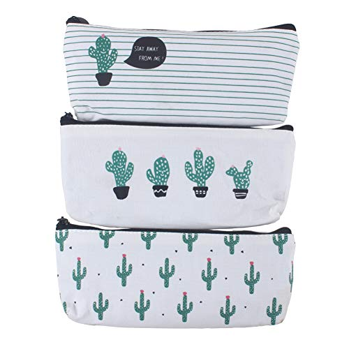Z ZICOME Cactus Canvas Pencil Cases Purse Pouches, 3 Pack