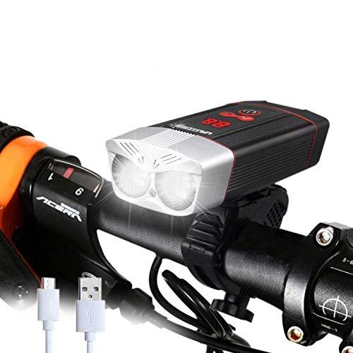HZFZ Lampada per Bicicletta 1200LM USB Ricaricabile per Bici Faro 5 modalità Lampada per Ciclismo Lampada per Bici da Strada MTB con Display a LED Intelligente-Nero