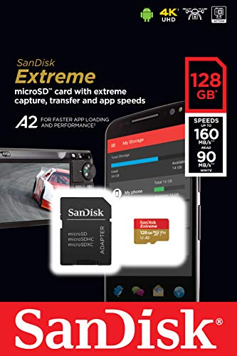 SanDisk Extreme 128 GB microSDXC Memory Card + SD Adapter with A2 App Performance + Rescue Pro Deluxe, Up to 160 MB/s, Class 10, UHS-I, U3, V30