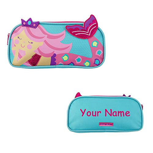 Stephen Joseph Personalized Pink and Teal Princess Mermaid Pencil Pouch Zippered Supply Case for Back to School with Custom Name