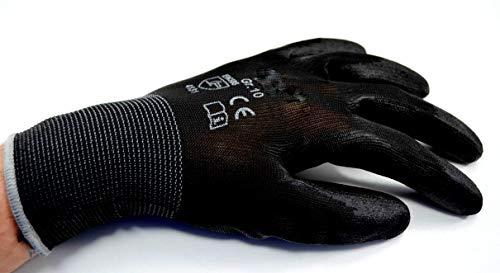 24 Paar Montagehandschuh Nylon schwarz PU beschichtete Handschuhe Gr.10/XL
