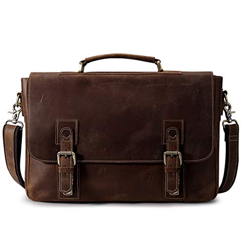 S-ZONE Men's Crazy Horse Leather Messenger Bag
