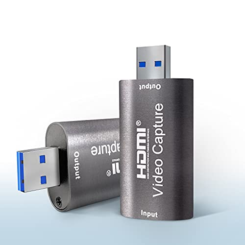 Capturadora de Video, 4K HDMI a USB 2.0 Tarjetas de Captura de Vídeo de Audio Convertidor, HDMI Vídeo Game Capture 1080P 30FPS para Edite Video/Juego/Transmisión/Enseñanza en línea