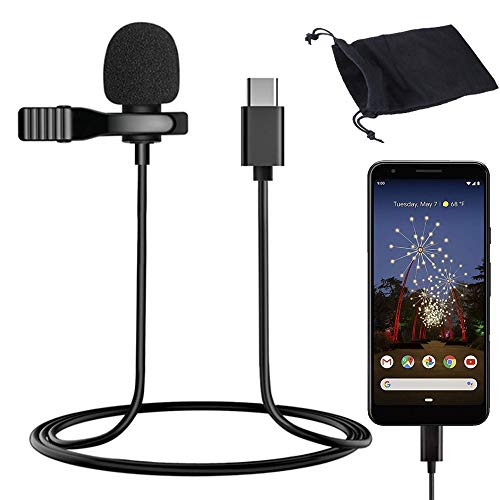 USB Type-C Professional Lavalier Lapel Microphone Directivity Condenser Mic for Android, USB C Microphone for YouTube Vlogging Facebook Interview Livestream Video Recording (4.9ft)