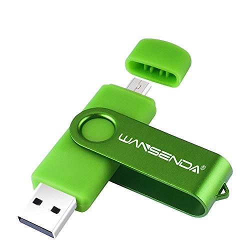 Wansenda OTG - Memoria flash USB (16 GB, 32 GB, 64 GB, 128 GB, USB 2.0) para dispositivos Android, PC/Tablet/Mac (128.00GB), color verde