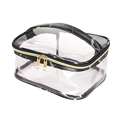 Mode Marbre Imprimer PVC Transparent Sac de Rangement cosmétique Clair Anti-éclaboussures Sac cosmétique Sac for Les Femmes Dames Toiletry (Color : Black)