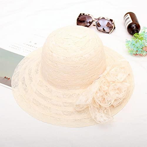NJJX Sombreros De Sol De Hilo De Red De Encaje Floral Vintage para Mujer Gorros De Playa De Viaje Al Aire Libre Plegables De ala Ancha De Verano Beige