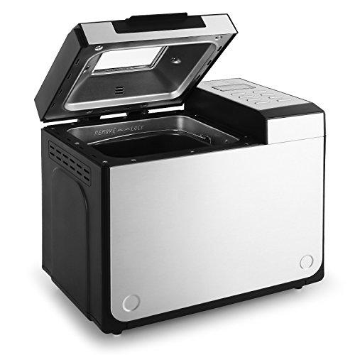 Klarstein Country-Life Brotbackautomat Brotbackmaschine vollautomatischer Edelstahl-Brotautomat für 1 kg Brot (12 Backprogramme, Timer, Warmhalte- & Knet-Funktion) schwarz-silber