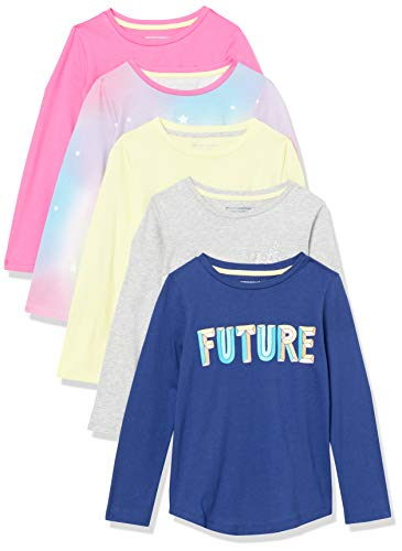 Amazon Essentials Long-Sleeve Fashion-t-Shirts, 5er-Pack Ombre, 6-7 Jahre