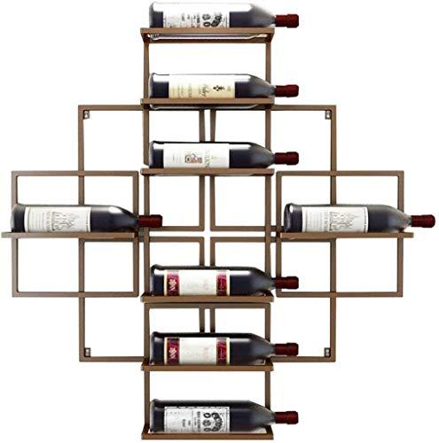 JXXDQ Estante de vino montado en la pared para colgar botellas de vino, metal hierro y vino, estantes de almacenamiento, estilo vintage, capacidad para 8 botellas de vino, color rojo cobre