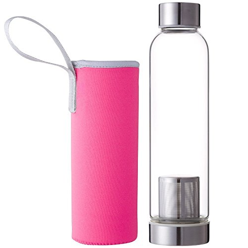Hosaire Portable Cristal Botella con infusor de te y Protector de Funda de Nailon (Zumo de Agua Potable Filtro para Home Exterior Viaje 550 ml