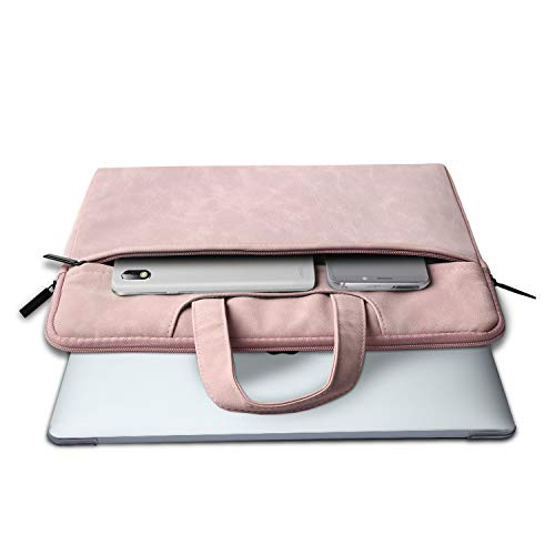 TECOOL 13.3 Inch Laptop Sleeve with Handle, Leather Carrying Bag Case