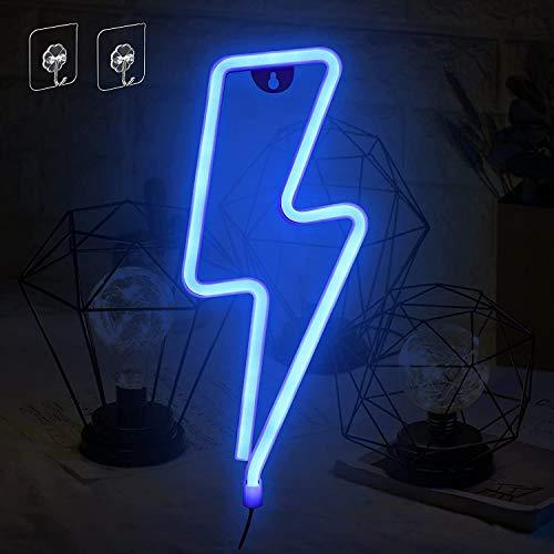 Umitive Letreros de Neon Rayo, Luz Neón LED con 2 Ganchos, Batería o USB Accionado, Ahorro de Energía, Señal de Neón Lámparas, Azul Muestra Ligera de Neón para Decoración de Pared, Fiesta y Habitación