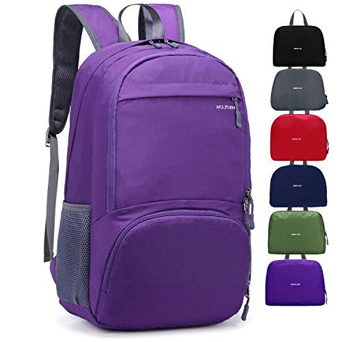 MRPLUM 25L-30L Rucksack Foldable Ultralight Packable Backpack, Unisex Durable Handy Daypack for Travel & Outdoor Sports Durable & Waterproof (Purple)