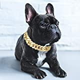 Yuehuam Gold Chain Dog Collar Pitbull Collar Necklace Link Chain Collar for Small Medium Dog Puppy Jewelry Costume Accessories for Teddy French Bulldog