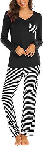 FGFD Pigiama Donna Maglietta Scollo a V + Pantalone Pigiama a Righe Cotone Morbido e Confortevole Casual Oversize Estivo e Inverno (Z-Nero, S)