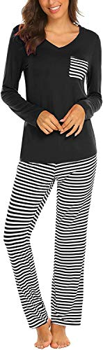Pijama Mujer De 2 Piezas con Manga Corta Pantalon Largo Ropa De Dormir Algodón Nightwear Elegante Camisetas + Pantalones (Z-Negro, S)