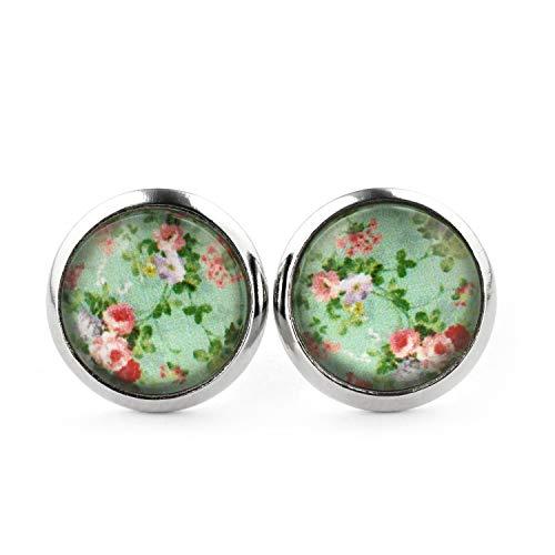SCHMUCKZUCKER Damen Ohrstecker Vintage Garden Blumen kleine Modeschmuck Ohrringe silber-farben 12mm (vintage mint)