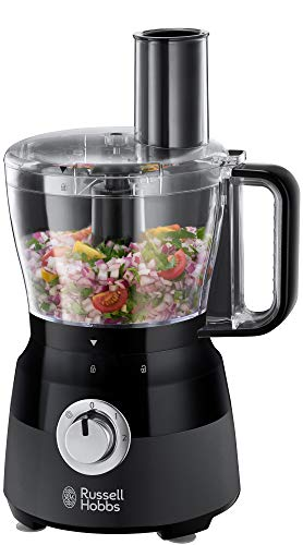 Russell Hobbs 24732 Desire Food Processor, 1.5 Litre Food Mixer with 5 Chopping, Slicing and Dough Attachments, Matte Black, 600 W