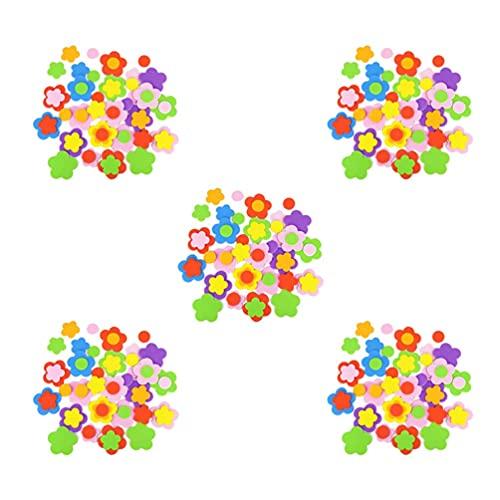 Enfants bricolage autocollants, autocollant Eva, jouets éducatifs, kit dartisanat pour enfants, 5pack eva mousse autocollants de fleur conception auto adhésive artisanat dartisanat décalcalier brico