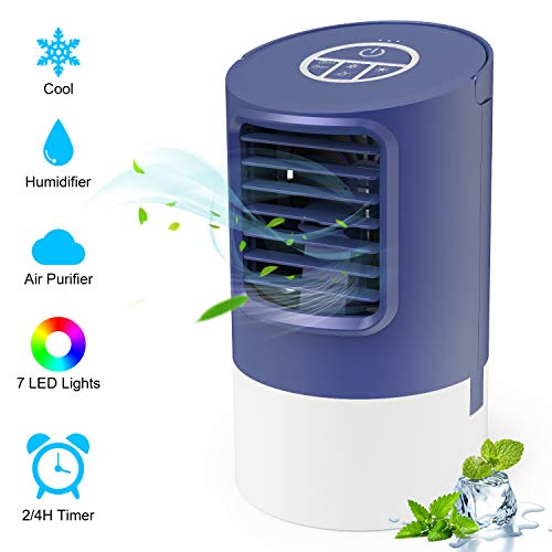 TedGem Ventilador Aire Acondicionado Portatil, Aire Acondicionado Pequeño Air Cooler, 4 en 1 Enfriador de Aire, Ventilador Humidificador, 7 Luces LED, 3 Velocidades, para el Hogar y la Oficina (Azul)