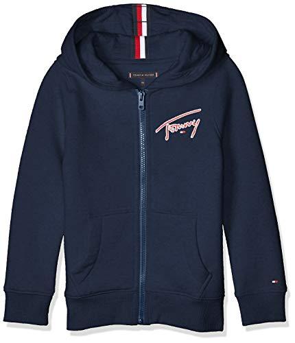 Tommy Hilfiger Essential Signature Hooded Zip Chaqueta y Abrigo para Bebé-Niños, Color Black Iris, 2T
