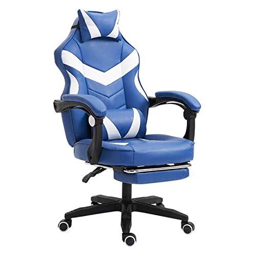ZXN RTU Relax - Silla de juegos cómoda y segura con reposapiés, respaldo alto, silla de oficina ergonómica de piel sintética con reposacabezas y soporte lumbar