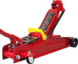 BIG RED T825051 Torin Hydraulic Low Profile Trolley Service/Floor Jack with Dual Piston Quick Lift Pump, 2.5 Ton (5,000 lb) Capacity, Red