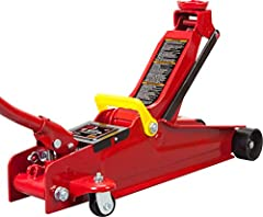 """Hydraulic trolley floor jack is constructed with heavy duty steel, providing long term durability with an industrial luster Features a 2.5 ton (5,000 lb) capacity with a minimum lifting height of 3-1/3"""" and a maximum height of 15""""; Ideal for most car..."""