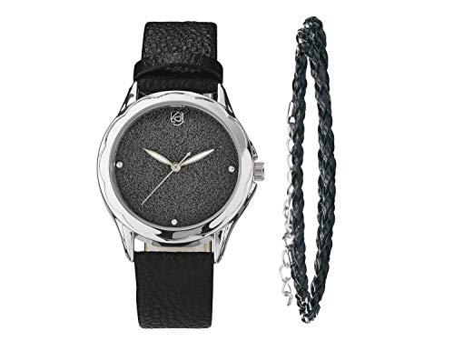 Auriol Damen Uhr Analog Quarz Uhrwerk Armbanduhr + Schmuckset Schwarz