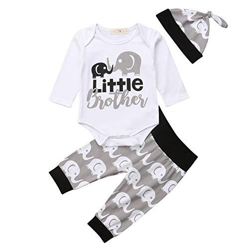 Geagodelia 3tlg Babykleidung Set Baby Jungen Kleidung Outfit Body Strampler + Hose + Mütze Neugeborene Kleinkinder Weiche Babyset T-18266 (0-3 Monate, Little Brother (Weiß Elefant - Langarm))