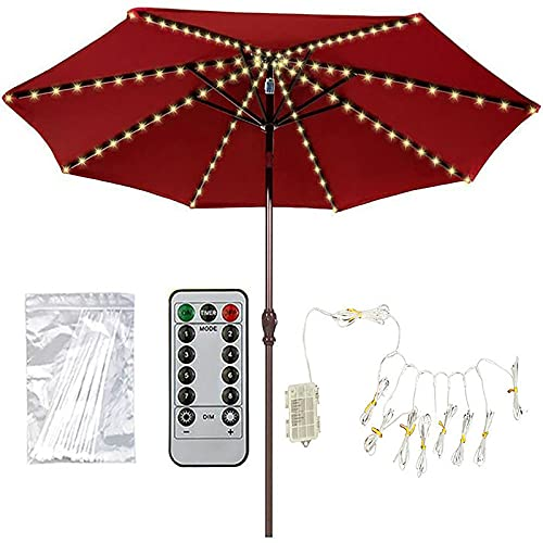 Solar Patio Umbrella Lights, 104 LED Parasol Lights with Remote Control 8 Modes Warm White, IP67 Waterproof Outdoor Balcony Umbrella Pole Lights,for Patio Umbrellas Camping Tents Garden