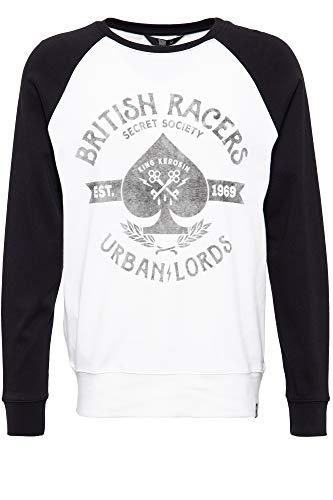 King Kerosin Herren Longsleeve Sweater | Herrenshirt | Rundhals | Raglan | Frontprint Urban Lords