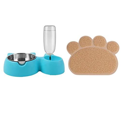 JHLD Doppel Katzennapf, Katzenohr Futternapf Haustiere Automatische Spender Katzen Futter Napf, Mit Haustiere Tischset, Für Mittel Kleine Katzen Hunde-Blau-L