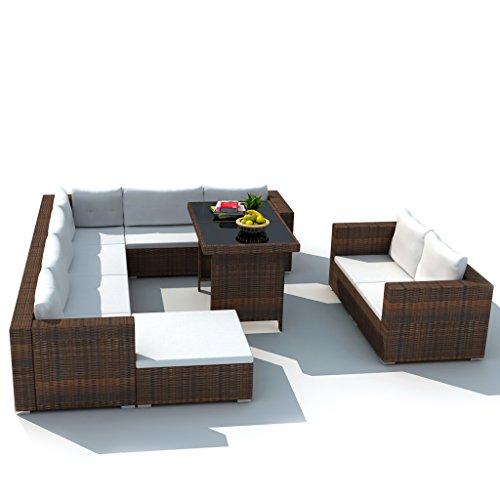 Festnight 28-tlg. Garten Essgruppe Lounge-Set Gartensofa Gartenlounge Loungegruppe aus Rattan Sitzgruppe für Terrasse Garten Innenhof - Braun
