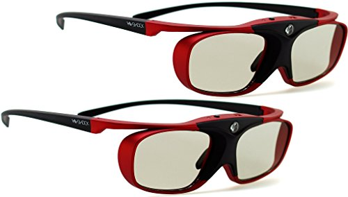 2X Hi-SHOCK RF Pro Scarlet Heaven | Aktive 3D Brille für EPSON, JVC & Sony RF 3D Projektor / Beamer [120 Hz | RF | wiederaufladbar| 32g ]