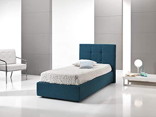 dormire meglio Letto Imbottito Singolo con Contenitore, Similpelle Bianca, per Rete 80 x 190 cm